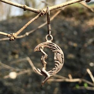 Sterling Silver Naked Moon Rider Earrings